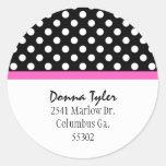 Black Polka Dot & Pink Trim Address Stickers