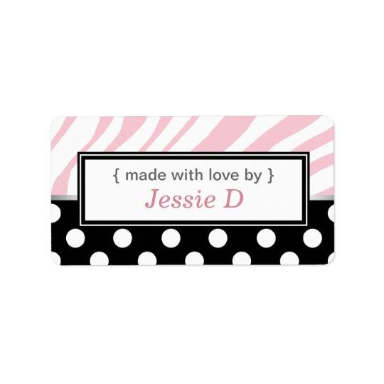 black polka dot pink zebra print baking labels