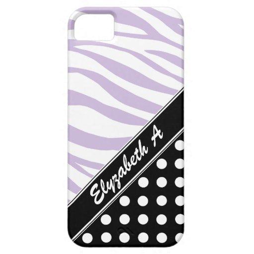 Black Polka Dot Purple Zebra Print iPhone 5 Case