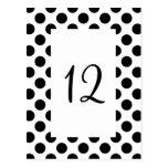Black Polka Dot Table Number Postcard Post Cards