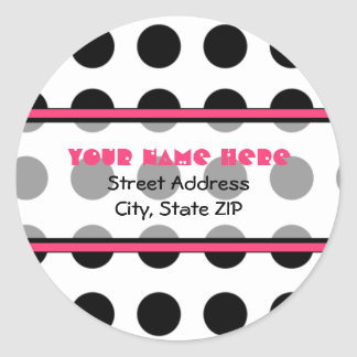 Black Polka Dot with Pink Address Labels Classic Round Sticker