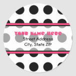 Black Polka Dot with Pink Address Labels Round Stickers