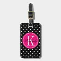 Black Polka Dot with Pink Monogram Luggage Tag
