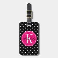Black Polka Dot with Pink Monogram Luggage Tag