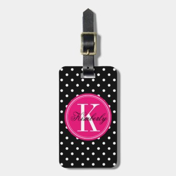Black Polka Dot With Pink Monogram Luggage Tag by OrganicSaturation at Zazzle