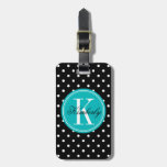 Black Polka Dot With Teal Monogram Luggage Tag at Zazzle