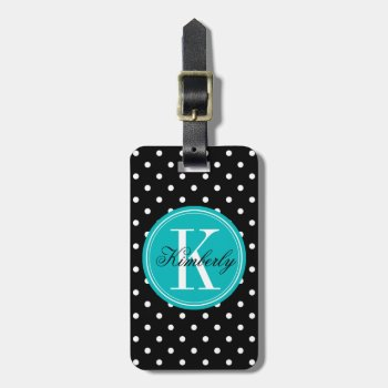 Black Polka Dot With Teal Monogram Luggage Tag by OrganicSaturation at Zazzle