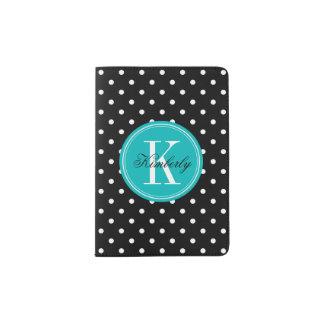 Black Polka Dot with Teal Monogram Passport Holder