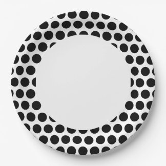 Black Polka Dot with White Circle Paper Plate