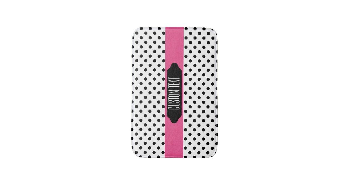 black polka dots and pink stripe bath rug mat bath mat