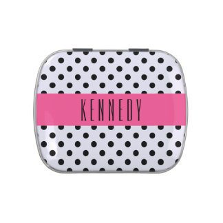 Black polka dots and pink stripe custom candy tin
