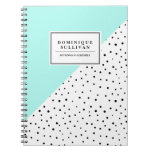 Black Polka Dots Aqua Abtract Pattern Personalized Notebook