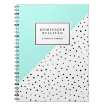 Black Polka Dots Aqua Abtract Pattern Personalized Notebook