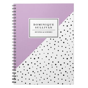 Beach Themed Black Polka Dots Blush Lilac Abtract Pattern Spiral Notebook