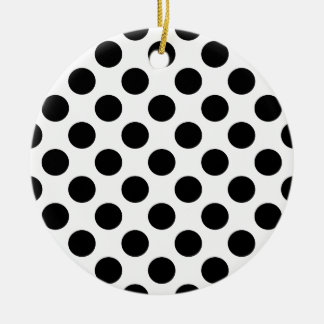Black Polka Dots Ceramic Ornament