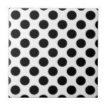 Black Polka Dots Ceramic Tile