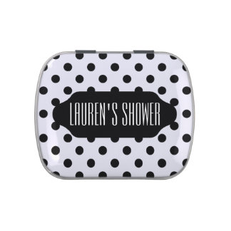 Black polka dots custom candy tin