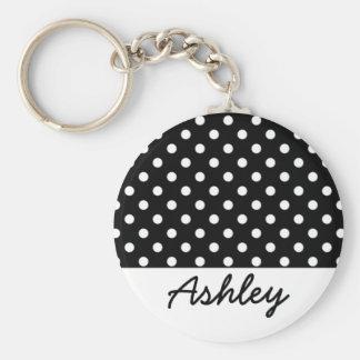 Black Polka Dots Custom Monogram Basic Round Button Keychain