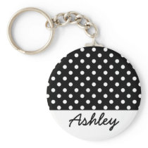 Black Polka Dots Custom Monogram Keychain