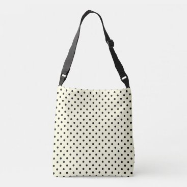 Beach Themed Black polka dots design on cream crossbody bag