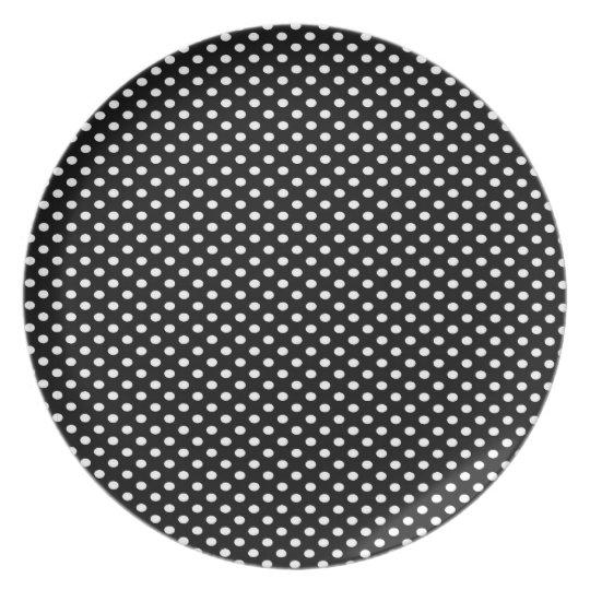 Black Polka Dots Dinner Plate
