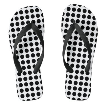 Beach Themed Black polka dots flip flops