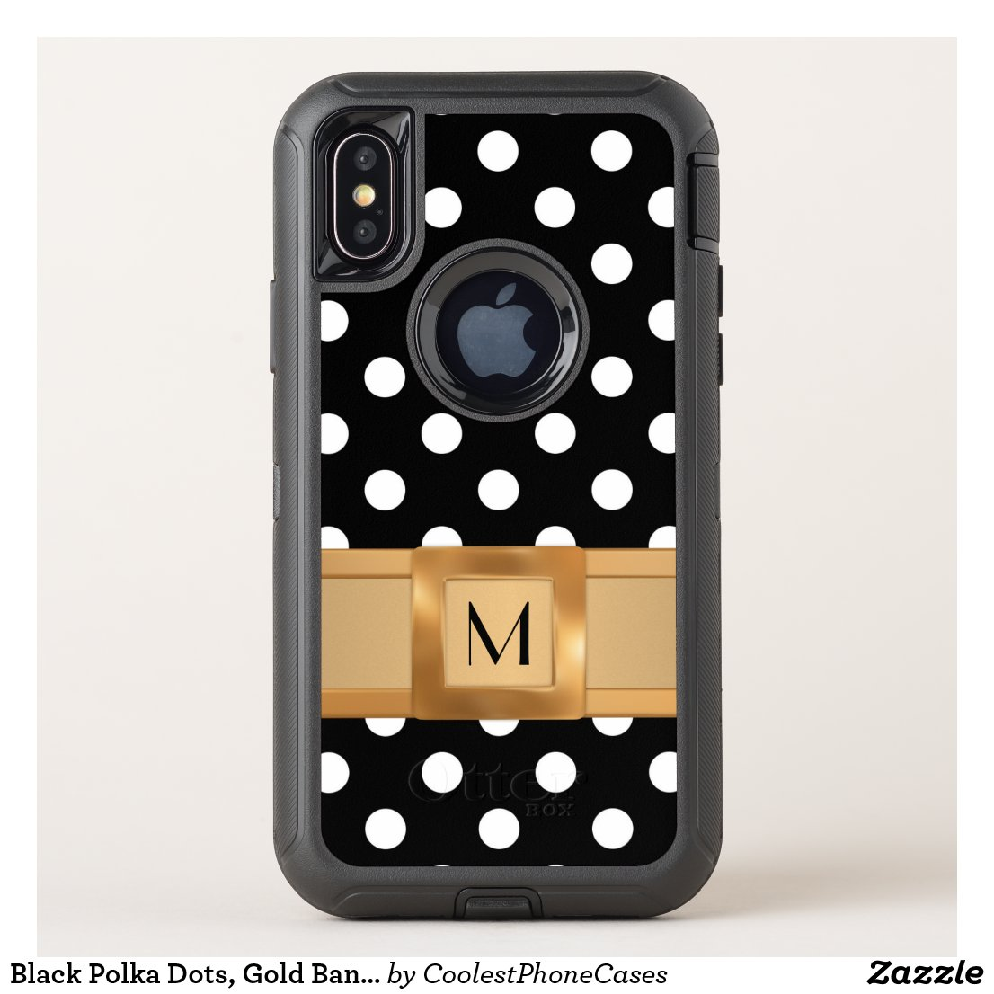 Black Polka Dots, Gold Band Monogrammed Defender OtterBox Defender iPhone X Case
