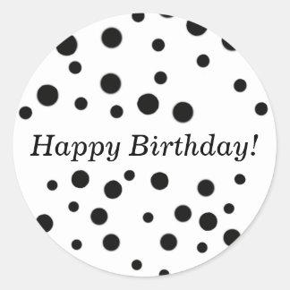 Black Polka Dots Happy Birthday Stickers