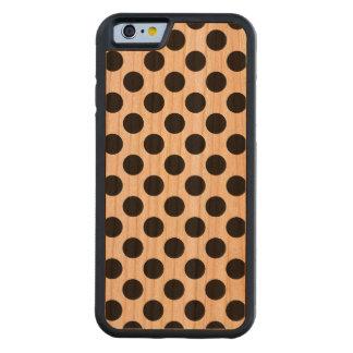 Black Polka Dots - iPhone 6 Bumper Wood Case Carved® Cherry iPhone 6 Bumper Case