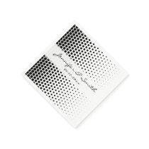 Black Polka Dots Modern White Napkin