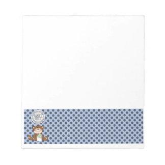 Black Polka Dots on Blue with Teddy Bear Notepad