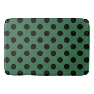 Black Polka Dots On Kelly Green Bathroom Mat