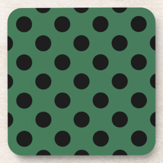 Black polka dots on kelly green drink coaster