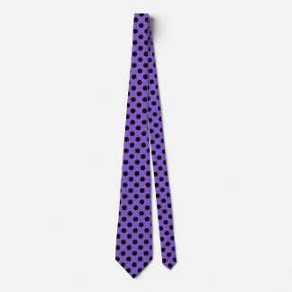 Black polka dots on lavender tie