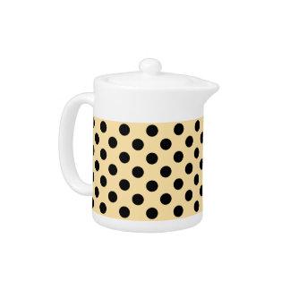 Black polka dots on pale yellow teapot