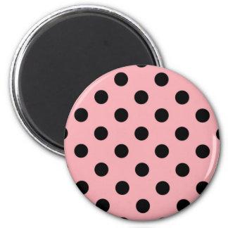 Black Polka Dots on Pink Magnet
