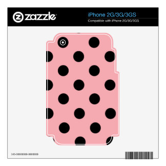 Black Polka Dots on Pink Skin for iPhone 2G/3G/3GS
