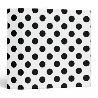 Black polka dots on white 3 ring binder