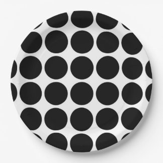 Black Polka Dots on White 9 Inch Paper Plate