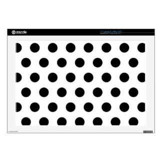 """Black polka Dots On White Background Decals For 17"""" Laptops"""