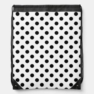 Black Polka Dots on White Background Drawstring Backpack