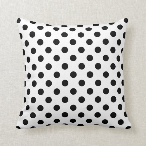 Black Polka Dots on White Background Pillow
