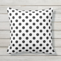 Black Polka Dots on White Background Throw Pillow