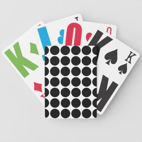 Black Polka Dots on White Bicycle Playing Cards