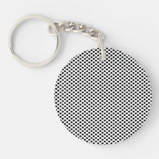 Black Polka Dots on White Double-Sided Round Acrylic Keychain