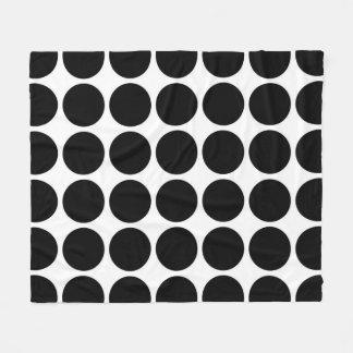 Black Polka Dots on White Fleece Blanket