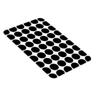 Black Polka Dots on White Flexible Magnet