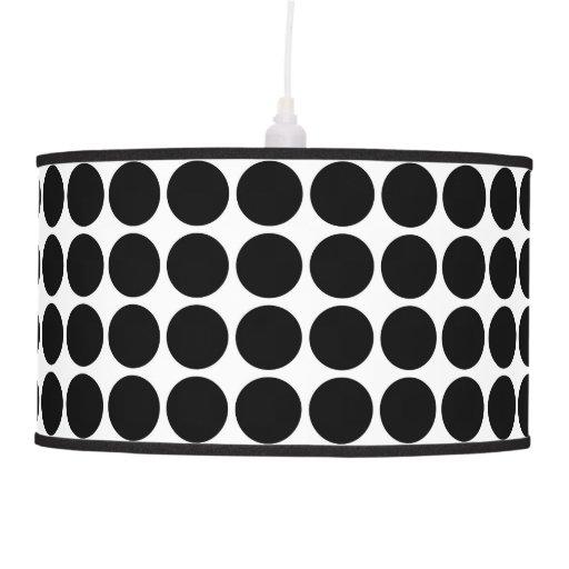 Black Polka Dots on White Hanging Pendant Lamp