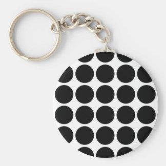 Black Polka Dots on White Keychain