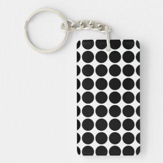 Black Polka Dots on White Rectangular Acrylic Key Chain